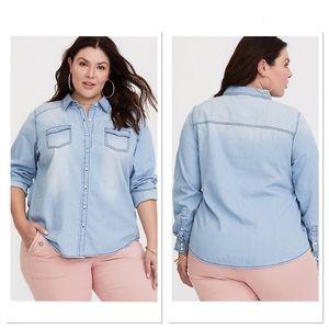 Torrid Light Wash Denim Button Up Shirt Sz 1X
